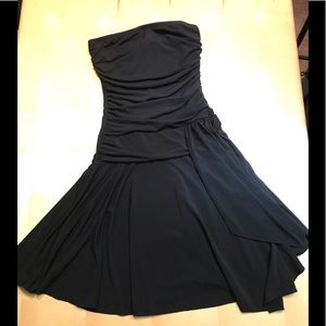 Wet Seal Black Ruched Strapless LBD Mini Dress S